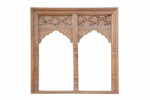 Indien Rahmen Doppelbogen quadratisch Innenbereich geschnitztes Holz - Vorschau