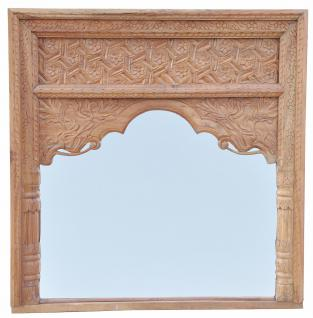 Indien Spiegel Rahmen Bogen quadratisch Innenbereich geschnitztes Holz