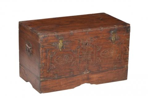 Indien Jodhpur ca 1890 kleine antike Truhe Kassette Box Messingbeschlag