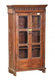 Indien 1910 halbhohe schlanke Glasvitrine Schrank Naturholz Schnitzerei