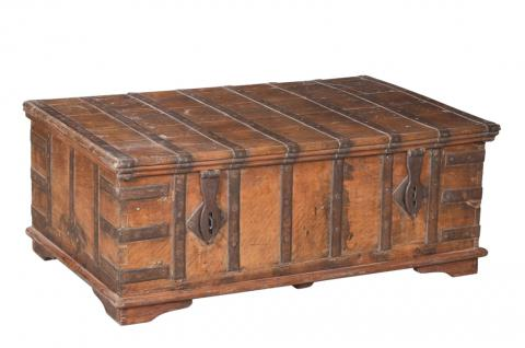 Indien Jodhpur 1880 große antike Truhe Kassette Box schwere Messingbeschläge