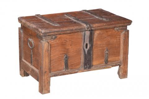 South India 1870 massive Holz Truhe Kassette schöne Metallbeschläge - Vorschau