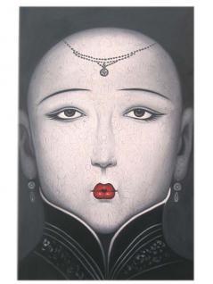 Surreal Frauenporträt Gesicht Porzellan Haut bekannter Künstler China Öl auf Leinwand