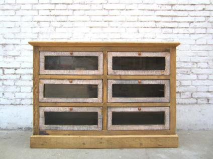China große Schubladenkommode 6 Schübe Pinie Korpus hell Fronten dunkel - Vorschau