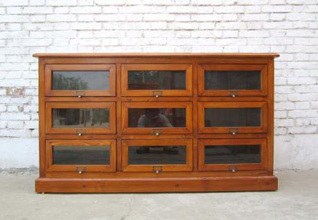 China breite Schubladenkommode Pinie 9 Schübe dunkle Pinie Korpus holzbraun - Vorschau