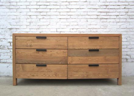 China sehr breite Schubladenkommode 6 Schübe moderne Form helle Pinie