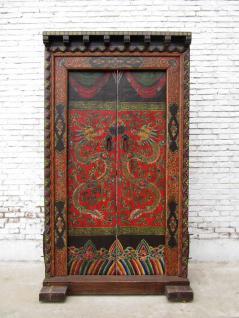 China Doppeltüre 80-100 Jahre alte Tür Tor mit Rahmen zauberhaft bemalte Ornamente