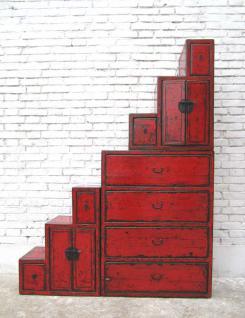 China hohe Stufen Kommode rotbraun viele Schubladen beidseitig aufstellbar unter Treppen - Vorschau