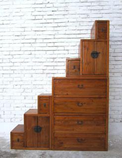 China hohe Stufen Kommode naturbraun viele Schubladen beidseitig aufstellbar unterm Dach