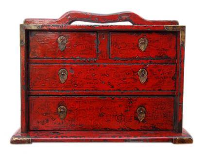 China herrliche antike Schmuckschatulle mit 4 Schubladen für Ihre Kostbarkeiten - Vorschau