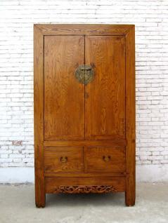 China 1860 klassischer großer Biedermeier Schrank Schnitzerei Ulme Shanxi - Vorschau