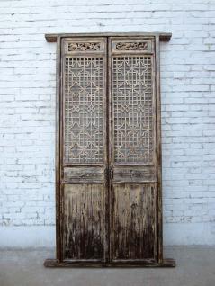 China Shanxi ca 1860 Innentür zweiflügelig feinste Schnitzerei auf weiß lackierter Pinie