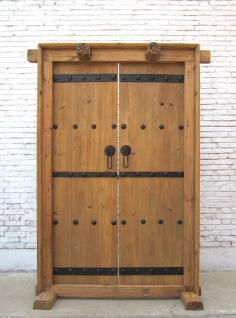 China Shanxi 1860 breite Doppeltüre mit Rahmen Ornamente helle Ulme