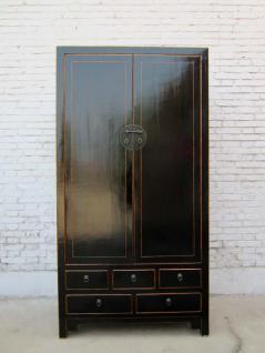 China Schrank edler großer Kabinett schwarz lackiertes Pinienholz