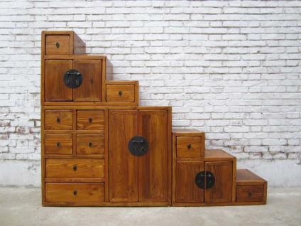 China ideal für Dachzimmer Treppen Kommode hellbraun viele Schubladen beidseitig ausziehbar - Vorschau