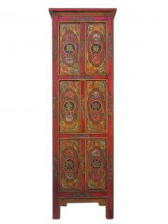 China Tibet 1900 schmales Highboard Anrichte Kredenz rot bemalte Pinie - Vorschau