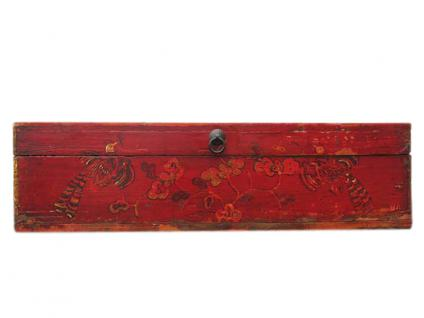 China 1890 kleine antik bemalte Truhe Box Metallbeschlag - Vorschau