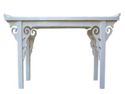 kleiner schlanker Tisch Konsole Ablage Pinie cremeweiß China antik