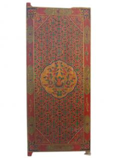China Tibet um 1910 bemalte Tür Wandbild