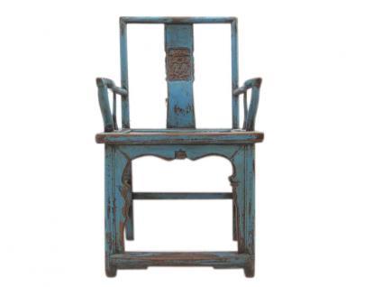 China Shanxi 1810 Holz klassischer Stuhl Sessel massive Ulme hellblau