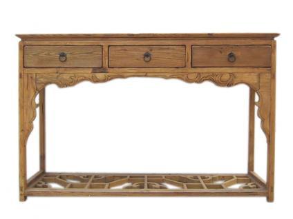 China 1860 elegante Anrichte Garderobentisch helles Ulmenholz drei Schubladen - Vorschau