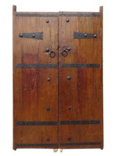 China Shanxi um 1810 schwere Tür zweiflügelig massive Ulme Metallbeschläge