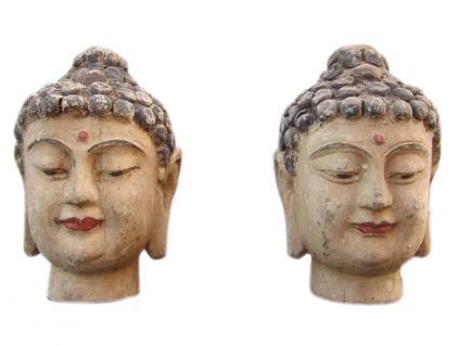 China 1920 2 x Frauen Kopf Porträt Skulptur Bildhauerei Blauglockenbaum zwei zur Auswahl - Vorschau