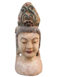China 1930 Göttin Frauenbildnis Skulptur Bildhauerarbeit Blauglockenbaumholz