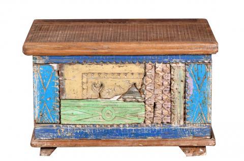 Indien um 1960 antike Truhe Kassette Box hellblaue Bemalung