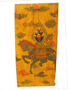 China Tibet um 1910 bemalte Tür Wandbild Reitermotiv - Vorschau