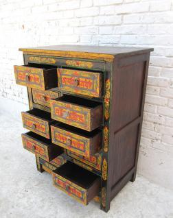 China TIBET 1920 hohe Kommode Highboard 10 Schubladen bemalte Pinienhol
