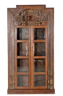 Hoher Vitrine Schrank Art Deko Stil Indien geschnitztes Holz - Vorschau