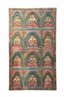 INDIA Bhutan geschnitzte Holztür Panel mit 12 Buddha-Motive