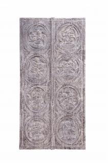 Indien 1920 breites Wandbild aus Türblatt mit traditionellem Motiv