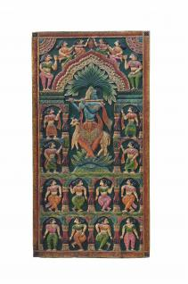 Indien altes Wandbild aus Türblatt mit traditionellem Motiv - Vorschau