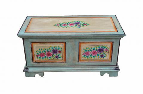 Indien um antike Truhe Kassette Box hellblaue Bemalung - Vorschau