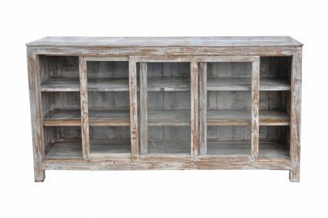 Indien 1930 halbhohe breite Glasvitrine Schrank Naturholz - Vorschau