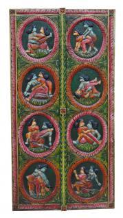 Indien massiv geschnitztes Wandbild Tür Panel in antiken Farben Kamasautra Motive