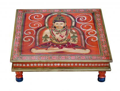 Indien niedriger Tisch quadratisch Bajot klassisch bemalt religiöses Motiv