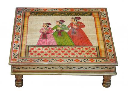 Indien Bajot flacher Tisch quadratisch klassische Palastszene Massivholz - Vorschau