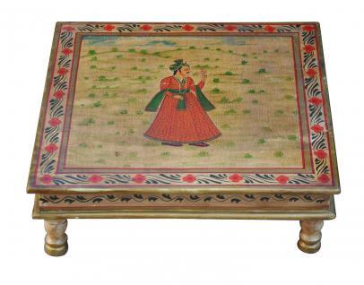 Indien niedriger Tisch Bajot quadratisch feine bemaltes Holz von Luxury Park - Vorschau
