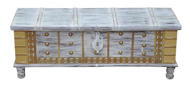 Fein bemalte große flache Truhe Box mit Füssen Metallbeschläge von Luxury-Park
