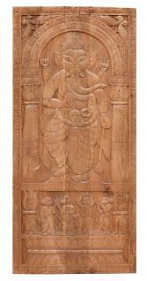 South India massives geschnitztes Wandbild Panel tanzende Göttin Hochformat