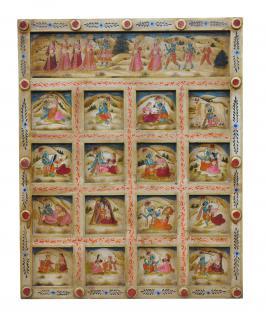 India geschnitztes Wandbild Kassetten Panel in zarten Farben Gottheiten - Vorschau