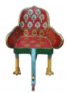 Indien absolut surrealer Vogel Sessel Unikat shock art grelle Farben - Vorschau
