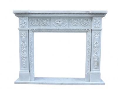 Kaminfassade Marmorkamin Kamine Stil Klassizismus Umrandung weiss Kaminumrahmung