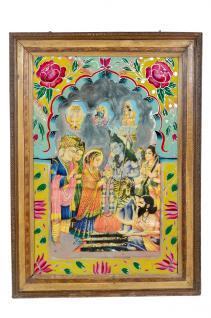 Indien 1950 altes Wandbild mit Rahmen traditionelles Motiv Rajasthan