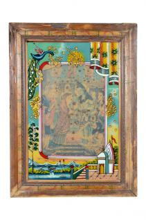 Indien 1950 altes Wandbild mit Holzrahmen Palastszene Rajasthan
