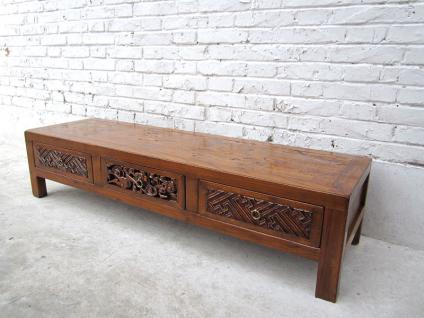 China antik 1920 sehr flache Kommode Lowboard für TV Bildschirm Schnitzerei Pinie