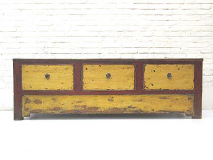 China Mongolei 1890 shabby chic besonders breite Anrichte Lowboard für Flachbildschirm rot gelbe Pinie von Luxury-Park - Vorschau
